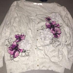 5/$20  Lauren Conrad L cardigan w/ purple flowers